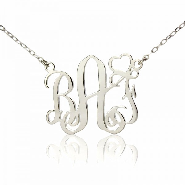 Personalised Initial Monogram Necklace 18CT White Gold With Heart