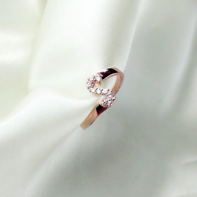 Birthstone Initial Letter Solid White Gold Ring
