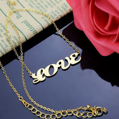 Solid Gold 18CT Capital Puff Font Name Necklace