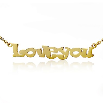 Cute Cartoon Ravie Font - 18CT Gold Name Necklace