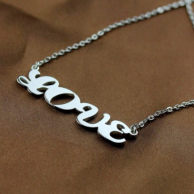 18CT White Gold Capital Puff Font Name Necklace