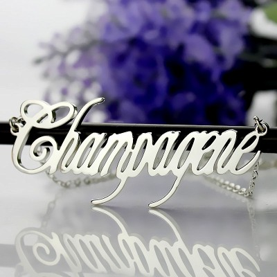 Solid White Gold Personalised Champagne Font Name Necklace