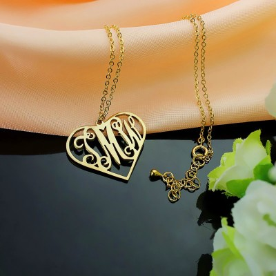 18CT Gold Initial Monogram Personalised Heart Necklace