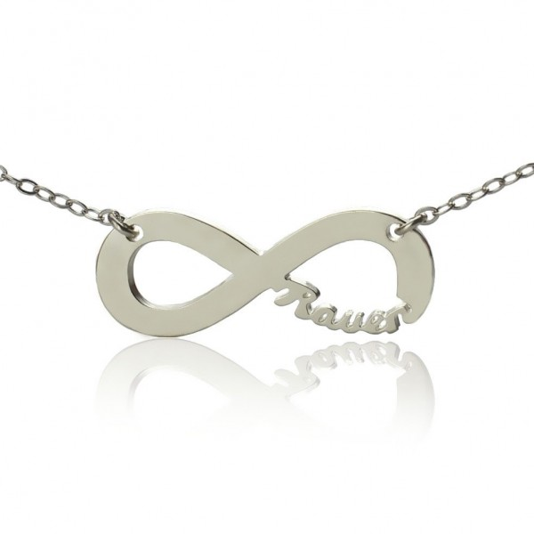 18CT White Gold Infinity Name Necklace