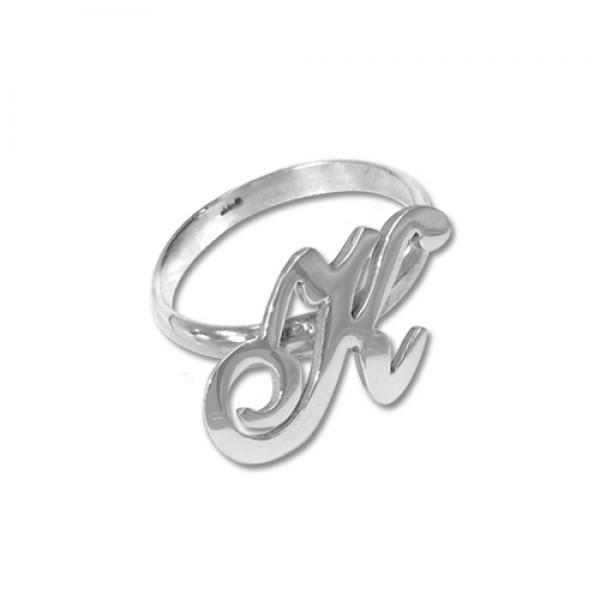 White Gold Initial Ring