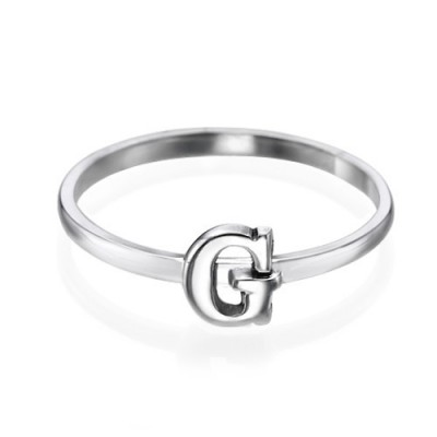Initial Solid White Gold Ring