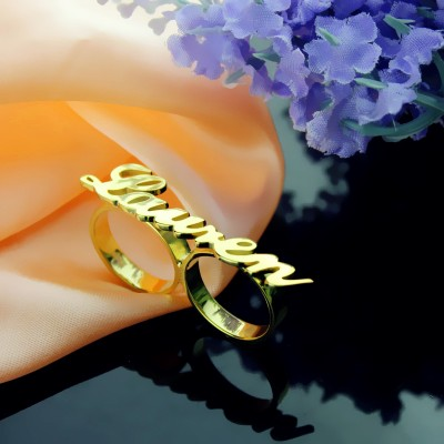 Custom Allegro Two Finger Nameplated Ring - 18CT Gold