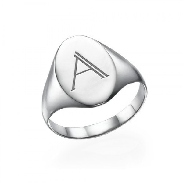 Initial Signet Solid White Gold Ring