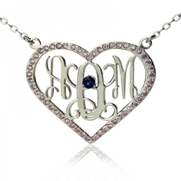 18CT White Gold Heart Birthstone Monogram Necklace