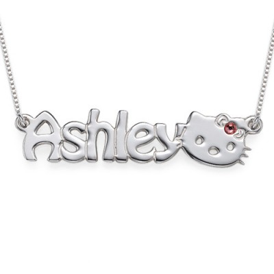 Solid Gold Kitten Nameplate Necklace for Girls