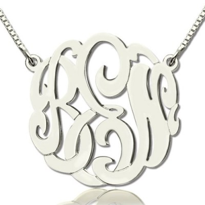 Solid White Gold Custom Large Monogram Necklace Hand-painted