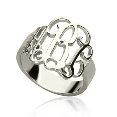 Personalised 18CT White Gold Monogram Ring