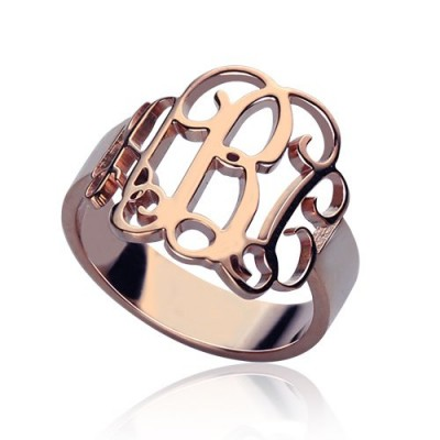 Personalised Rose Gold Monogram Ring