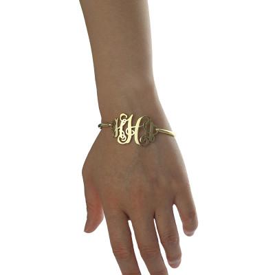 18CT Gold Monogram Initial Bracelet 1.25 Inch