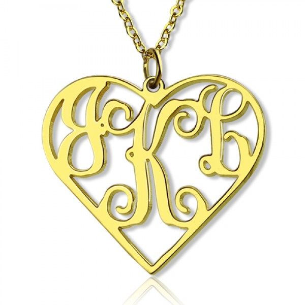 18CT Yellow Gold Initial Monogram Personalised Heart Necklace-Single Hook