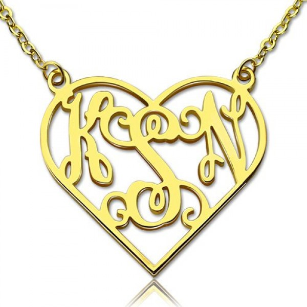 Cut Out Heart Monogram Necklace - 18CT Gold