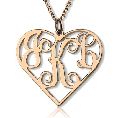 Solid Rose Gold 18CT Initial Monogram Personalised Heart Necklace