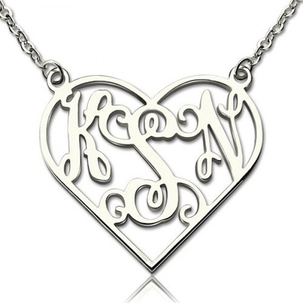 Solid Gold Heart Monogram Necklace