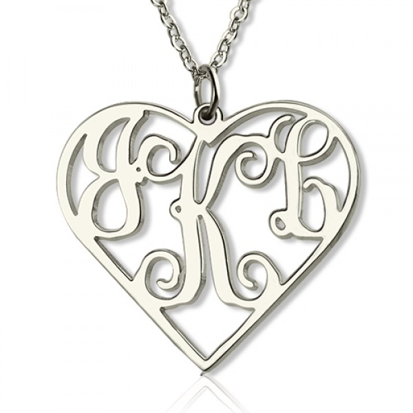 18CT White Gold Cut Out Heart Monogram Necklace