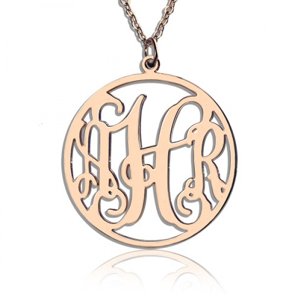 Circle Initial Monogram Necklace Rose Gold Plated