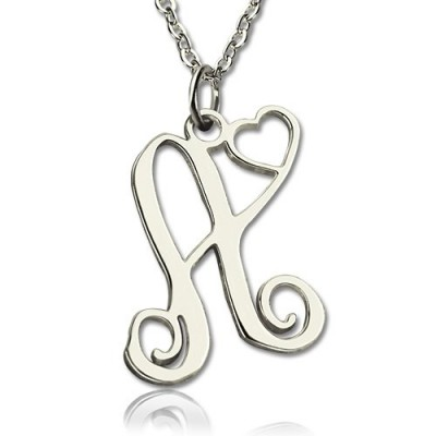 Solid Gold One Initial Monogram With Heart Name Necklace