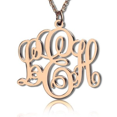 Personalised Vine Font Initial Monogram Necklace 18CT Rose Gold