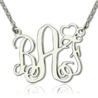 Solid Gold Initial Monogram Name Necklace With Heart Srerling