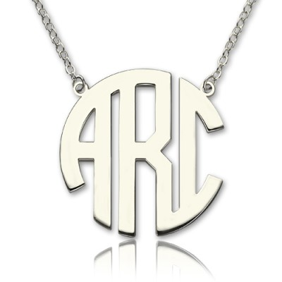 Solid White Gold 18CT Initial Block Monogram Pendant Necklace