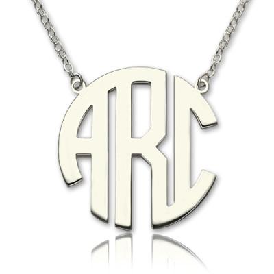 Solid White Gold 18CT Initial Block Monogram Pendant Necklace