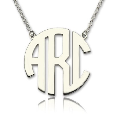 18CT White Gold Block Monogram Pendant Necklace