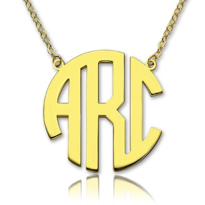 Solid Gold 18CT Initial Block Monogram Pendant Necklace