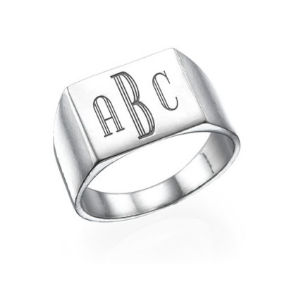 White Gold Monogrammed Signet Ring