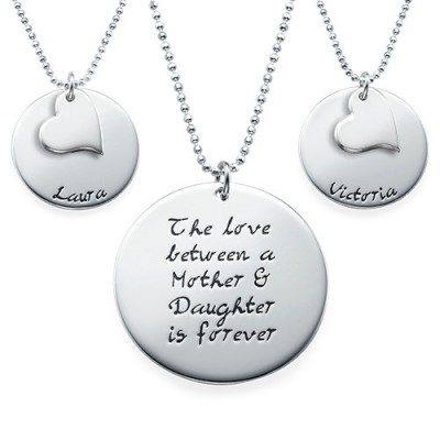Solid Gold Mother Daughter Gift - Set of Three Engraved Necklaces