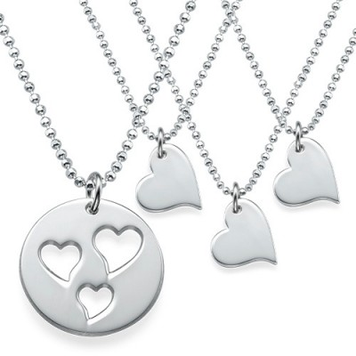 Solid Gold Mother and Daughter Cut Out Heart Necklace Set