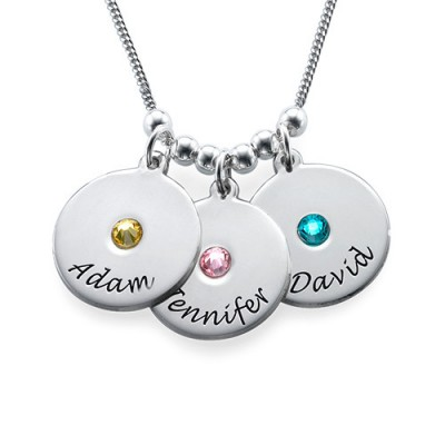 Solid Gold Mother's Disc and Birthstone Necklace