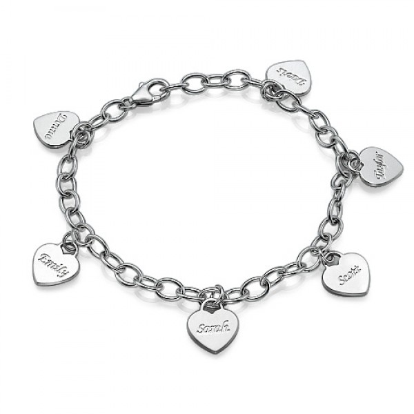 Solid Gold Mum Charm Bracelet/Anklet with Hearts