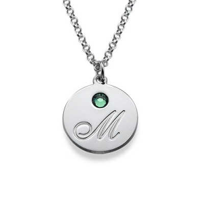 Solid Gold Multiple Initial Pendant Necklace with Birthstones