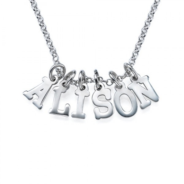 White Gold Multiple Initial Necklace