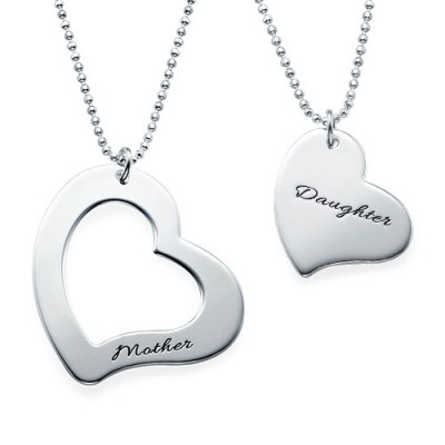 Solid Gold Mum is My Heart Mother Daughter Necklaces