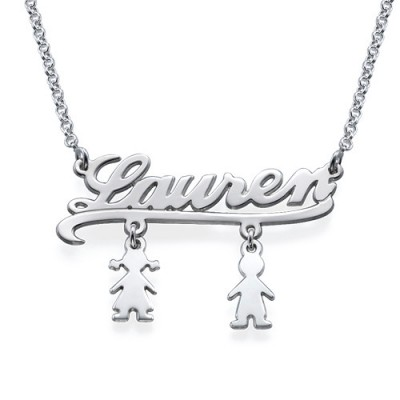 Solid Gold Mummy Name Necklace with Kids Charms