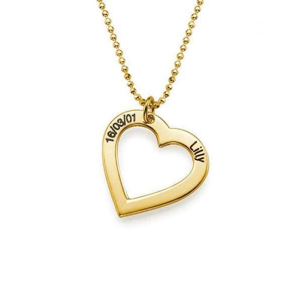 18k Gold Engraved Name Necklace - Heart