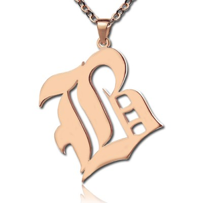 Rose Gold Initial Necklace Old English Style