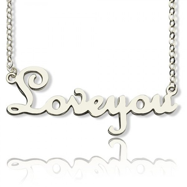 Personalised 18CT White Gold Cursive Name Necklace