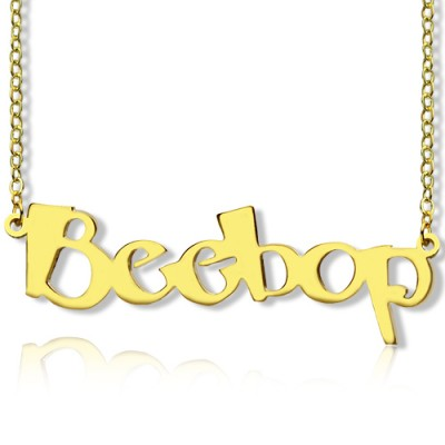 Solid Gold 18CT Personalised Beetle font Letter Name Necklace