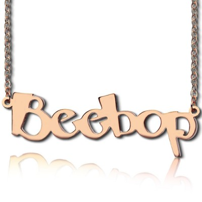 Solid Rose Gold Personalised Beetle font Letter Name Necklace