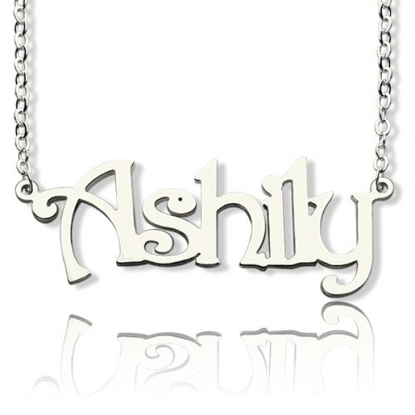 18CT White Gold Harrington Font Name Necklace