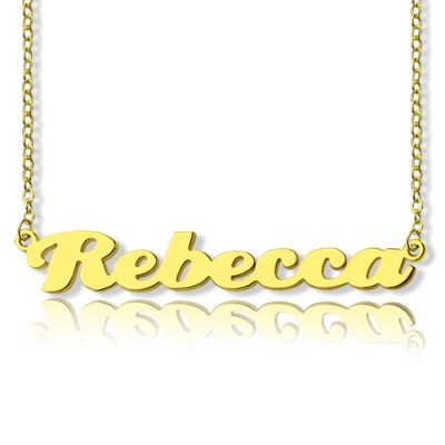Personalised 18CT Solid Gold Puff Font Name Necklace