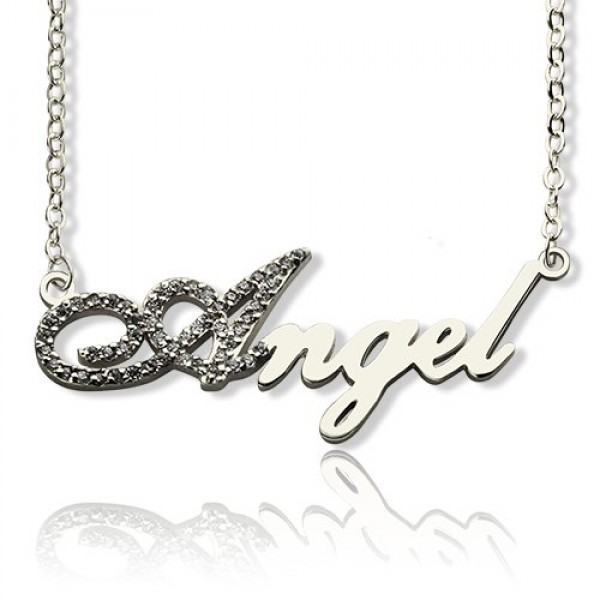 18CT White Gold Script Name Necklace-Initial Full Birthstone
