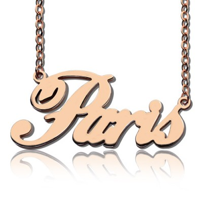 Paris Hilton Style Name Necklace 18CT Solid Rose Gold