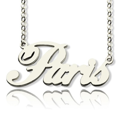 Paris Hilton Style Name Necklace 18CT Solid White Gold